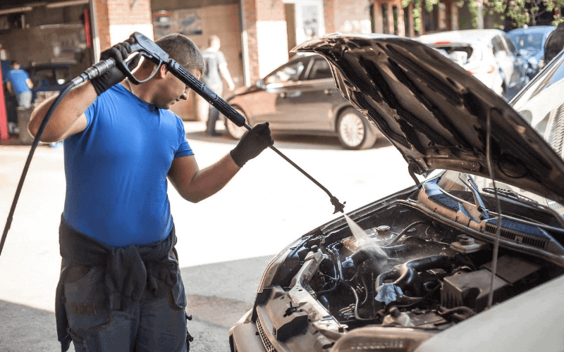 how to spray a car engine with water
